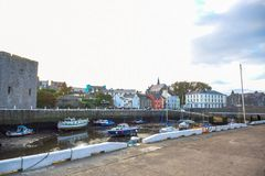 Yacht docking at canal in a small town of Douglas, Isle of Man. Stock Image