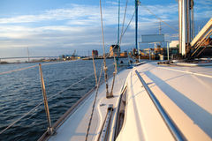 Yacht docking Royalty Free Stock Photo