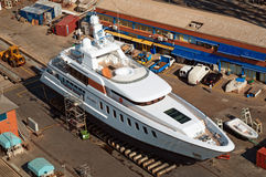 Yacht in the dry dock Royalty Free Stock Images