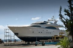 Yacht in the dry dock Royalty Free Stock Photography