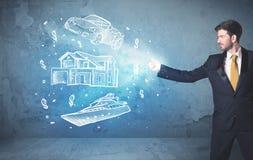Yacht e casa disegnati a mano di lancio dell'automobile della persona ricca Immagini Stock Libere da Diritti