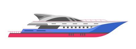 Yacht eller speedboar, för segelbåt- och motorbåthav marin- för kryssning för fartyg för vektor symbol stock illustrationer