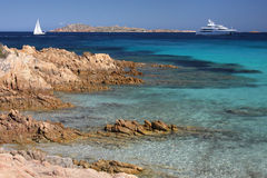 Yacht in an emerald sea.  Stock Photo