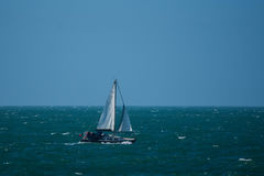 A yacht on the English Channel Stock Images