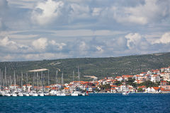 Yacht is entering in Marina Frapa, Rogoznica, Croatia Royalty Free Stock Images