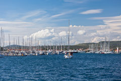 Yacht is entering in Marina Frapa, Rogoznica, Croatia Royalty Free Stock Photo