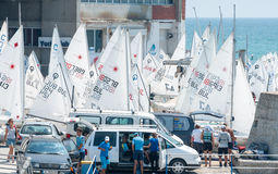 Yacht before the European Championship in sailing in Pomorie Royalty Free Stock Images