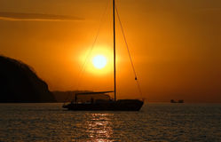 Yacht on evening sea Stock Images