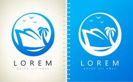 Yacht-, fågel- och palmträdlogo Lopplogovektor - turism royaltyfri illustrationer