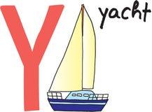 yacht för bokstav y vektor illustrationer