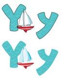 Yacht för bokstav Y royaltyfri illustrationer