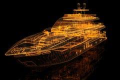 yacht för modell 3d royaltyfri illustrationer