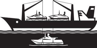 Yacht för päfyllning för skepp för fraktbärare stock illustrationer