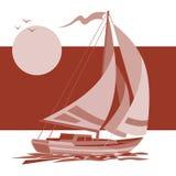 Yacht för seglingskepp i soluppgångvektorbakgrund Royaltyfri Illustrationer