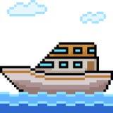 Yacht för vektorPIXELkonst stock illustrationer