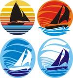 yacht för seglinghavssolnedgång royaltyfri illustrationer