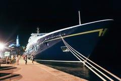 Yacht festgemacht in Rovinj Stockbild