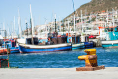 Ocean bay. Yacht and fishermans boat marina in Cape Town South Africa Stock Photo