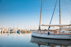 Yacht and fishing boats in Cannes, France Stock Image