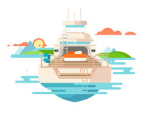 Yacht flat design Royalty Free Stock Photo