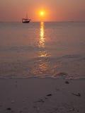 Yacht floating along the horizon stock image