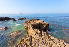 Yacht floats across the Atlantic Ocean Royalty Free Stock Photo