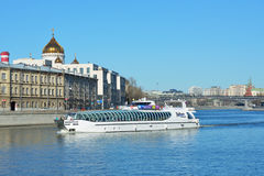 Yacht of Flotilla Radisson Royal on the Moscow river Royalty Free Stock Image