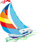 Yacht front view. Sailing in sail yacht. Front view Royalty Free Illustration