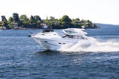 Yacht fun in Norwegian fjord 3 stock image