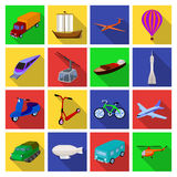 Yacht, funicular, metro transport for the transportation of passengers and cargo. Transport set collection icons in flat. Style vector symbol stock illustration Stock Images