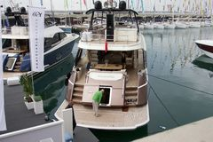 Yacht in Genoa boat show Stock Photo