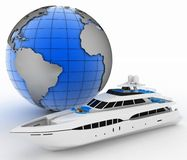 Yacht and globe Royalty Free Stock Photo