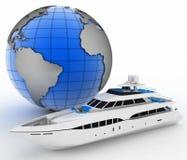 Yacht and globe Royalty Free Stock Photo