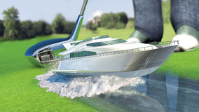 Yacht & golf concept metaphor. Yacht golf concept metaphor.Yacht hit by a golf club. Kick off Stock Photos