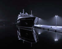 Yacht in harbor. Luxury yacht in autumn night Royalty Free Stock Images