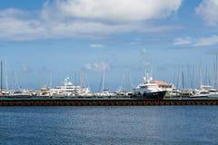 Yacht Harbor Beyond Metal Seawall Royalty Free Stock Photos