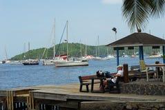 Yacht Harbor in Caribbean Stock Photo