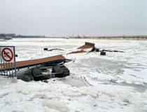 Yacht harbor devastated. A harbor devastated by the snow and the wind Stock Image