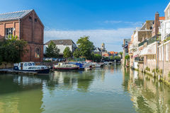 Scenic Dutch yacht harbor in Dordrecht, the Netherlands Royalty Free Stock Image