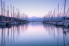Yacht Harbor In Sunset Royalty Free Stock Image
