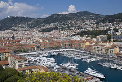 Yacht harbor of Nice, France. Top view stock photo