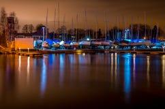 Yacht harbor at night Royalty Free Stock Image