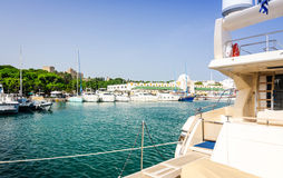 Yacht harbor in Rhodes city Royalty Free Stock Image