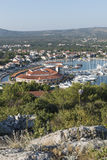 Yacht harbor in Rogoznica. One of greatest yacht harbors in Mediterranean Sea, Rogoznica, Croatia, view from top of peninsula to harbor centre Stock Photos