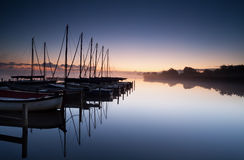 Yacht harbor at sunrise Stock Photography