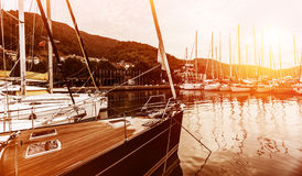 Yacht harbor on sunset Stock Photos