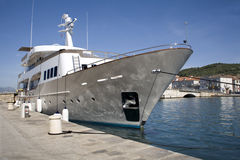 Yacht in harbor of Trogir Stock Image