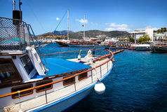 Yacht in the Harbor in Turkey Stock Image