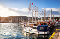 Yacht in the Harbor in Turkey Royalty Free Stock Photo