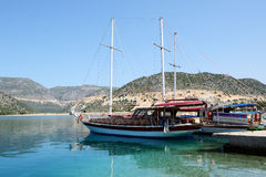 The yacht in harbor on Turkish resort Royalty Free Stock Photo